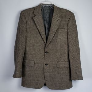 Jos A Bank 40L Camel Hair Sport Coat Gray Plaid